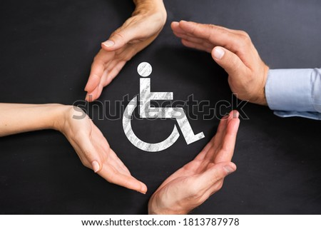 Disabled Icon. Worker Injury And Disability. Hands Protecting