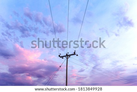 Wide angle picture of an isolated, rural, farmland power line during twilight / blue hour, with beautiful blue and purple tones