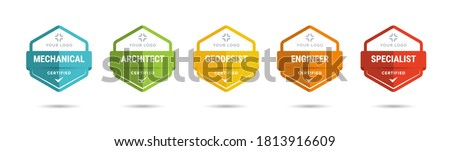 Set of company training badge certificates to determine based on criteria. Vector illustration certified logo design. Royalty-Free Stock Photo #1813916609