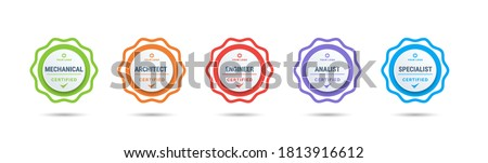 Certified badge logo design for company training badge certificates to determine based on criteria. Set bundle certify colorful vector illustration. Royalty-Free Stock Photo #1813916612