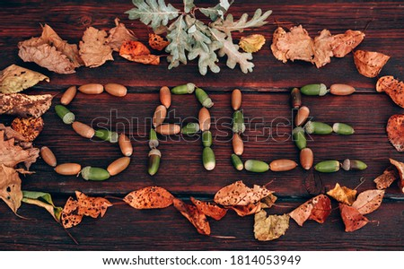 Lettering SALE made up of autumn leaves and acorns. Discounts and sales, lettering on a wooden background. Advertising picture for seasonal discounts, creative concept for stores