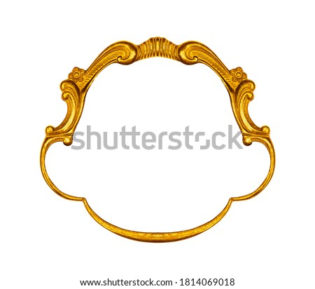 Gold vintage frame on white background, including clipping path