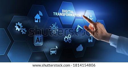 Digital Transformation and Digitalization Technology concept on Abstract Background. Royalty-Free Stock Photo #1814154806