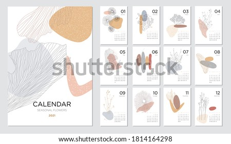 Calendar design concept with abstract natural elements. 2021 calendar template on a beauty themeSet of 12 months 2021 pages. Vector illustration #1814164298