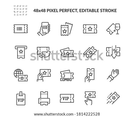 Simple Set of Tickets Related Vector Line Icons. Contains such Icons as Early Bird, Combo offer, Mobile Ticket and more. Editable Stroke. 48x48 Pixel Perfect. #1814222528