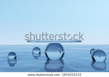 Water product display podium. 3D rendering Royalty-Free Stock Photo #1814252522
