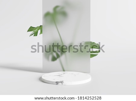 White marble product display podium leaves . 3D render Royalty-Free Stock Photo #1814252528