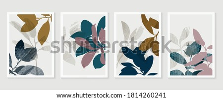 Botanical wall art vector set. Foliage line art drawing with  abstract shape.  Abstract Plant Art design for print, cover, wallpaper, Minimal and  natural wall art. Vector illustration. #1814260241