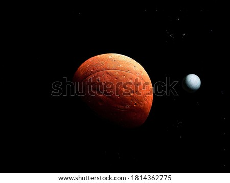 Bright red planet with a solid surface and big satellite on a black background with stars #1814362775
