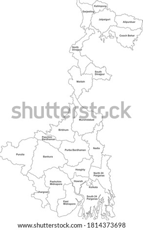 West Bengal districts map with name labels. White background. Royalty-Free Stock Photo #1814373698