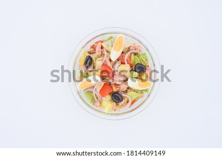 Tuna salad in transparent bowl with eggs  #1814409149