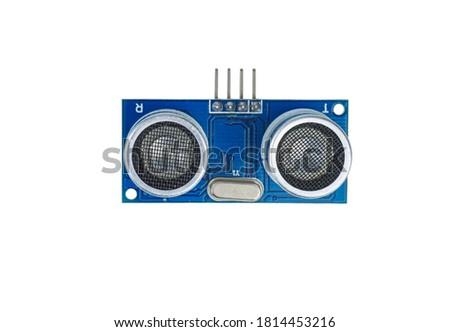 Ultra sonic sensor on a white background