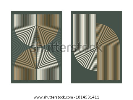 Set of vector abstract contemporary posters, geometric line shapes,. Aesthetic boho wall decoration concept. Mid century modern minimalist art print collection, wallpaper, templates.  Royalty-Free Stock Photo #1814531411