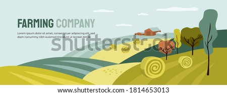 Design for farming with agricultural field and building. Farm landscape, hay rolls, panoramic scenery of countryside. Horizontal illustration of harvest, autumn nature. Vector banner, flyer, layout Royalty-Free Stock Photo #1814653013