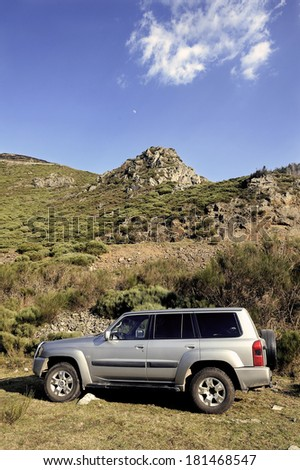 VERNAGUES, FRANCE - MARCH 10: All-terrain vehicle in France in the Massif des Cevennes in the department of Lozere, march 10, 2014. #181468547