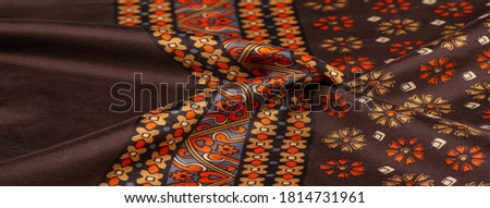 silk fabric of brown color with red and yellow colors, dense fabric, double-sided based on triacetate fibers. Background, Pattern Decor #1814731961
