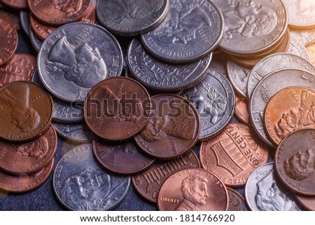 Pile of Golden coin, silver coin, copper coin, quarters, nickels, dimes, pennies, fifty cent piece and dollar coins. Various USA coins, American coins for business, money, financial coins and economy #1814766920