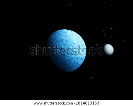 Blue planet with a solid surface and big satellite on a black background with stars #1814813153