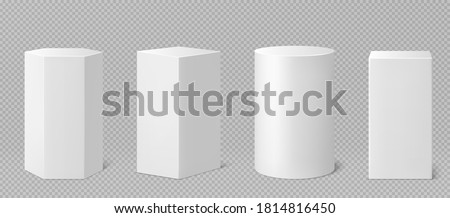 Pedestals or podium, abstract geometric empty museum stages, exhibit displays for award ceremony or product presentation. Gallery platform, geometric blank product stands, Realistic 3d vector set Royalty-Free Stock Photo #1814816450