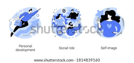 Human capital abstract concept vector illustration set. Personal development, social role, self-image, gender stereotypes, career growth, self improvement, coach, modern family abstract metaphor. #1814839160