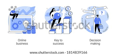 Business opportunity abstract concept vector illustration set. Online business, key to success, decision making, problem solving, leadership, startup teamwork, collaboration abstract metaphor. #1814839166