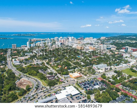 Downtown Sarasota City Florida Skyline SRQ Drone Aerial Picture