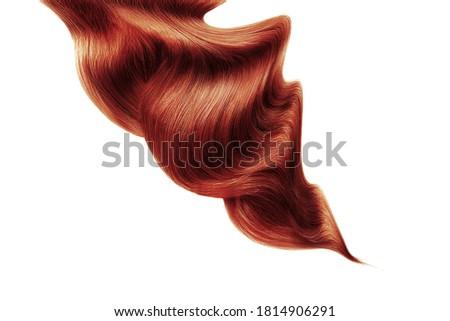 Henna shiny hair on white background, isolated
