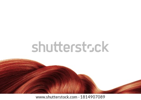Henna shiny hair isolated on white. Background with copy space