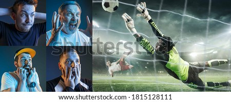 Emotional friends or fans watching football, soccer match on TV, look excited. Fans support, championship, competition, sport, entertainment concept. Collage of neon portraits and sportsman in action. Royalty-Free Stock Photo #1815128111