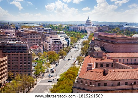 Panorama from above of Pennsylvania Avenue and United States Capitol Building towards USA Congress on National Mall in Washington, D.C. Royalty-Free Stock Photo #1815261509