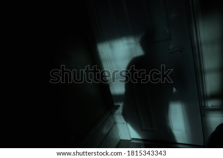 Window moonlight highlights the shadow of a mysterious creeping figure Royalty-Free Stock Photo #1815343343