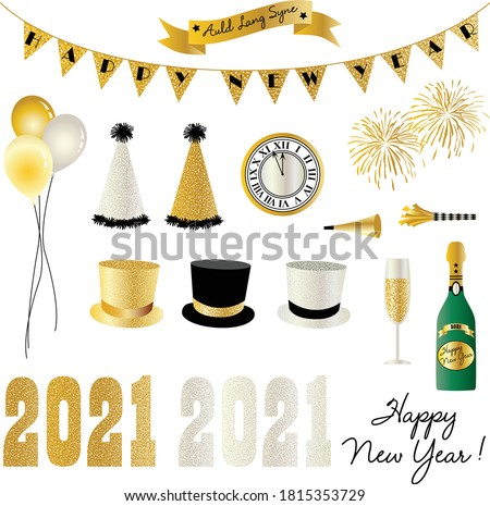 2021 new years eve clipart graphics Royalty-Free Stock Photo #1815353729