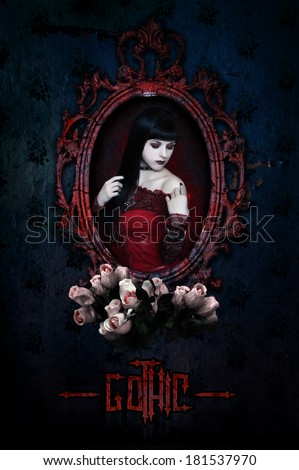Gothic girl in red corset and roses. Collage.
