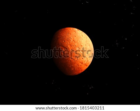 red planet with a solid surface and craters on a black background with stars #1815403211