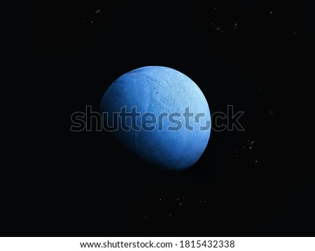 Blue planet with water and atmosphere in space with stars. #1815432338