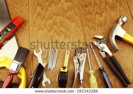 Assorted work tools on wood #181543286