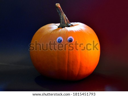 Cute halloween pumpkin with eyes stock images. Funny orange pumpkin isolated on a dark background stock photo. Single cute halloween pumpkin stock images
