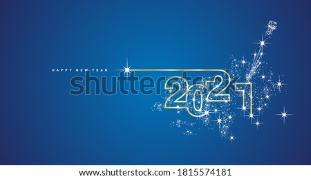 New Year 2021 line design firework champagne gold shining white blue vector #1815574181