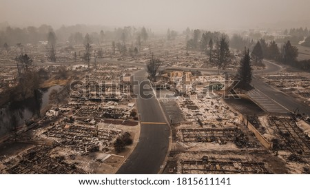 Aerial View of the Almeda Wildfire in Southern Oregon Talent Phoenix Northern California. Fire Destroys many people's livelihoods and flips their lives upside down after fire had blown through town. #1815611141