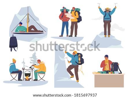 Mountain climber cartoon character set, flat vector illustration. People climbing rock wall, sitting near campfire, taking rest. Mountain climbing, extreme sport, outdoor adventure, mountaineering.