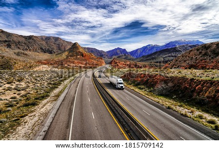 Mountain valley highway road landscape. Mountain road scene. Cars on mountain highway road. Mountain road cars landscape #1815709142