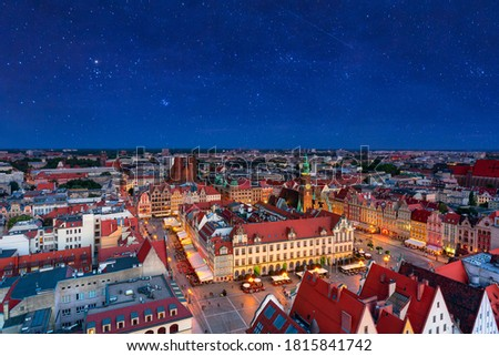 Beautiful architecture of the Old Town Market Square in Wrocław at dusk. Poland Royalty-Free Stock Photo #1815841742