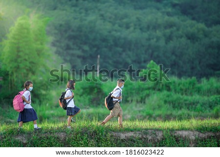 Primary school students group one Asians living in rural areas and rural schools of Thailand Elementary school children are traveling by foot to a school where there is rice field and mountain. Royalty-Free Stock Photo #1816023422