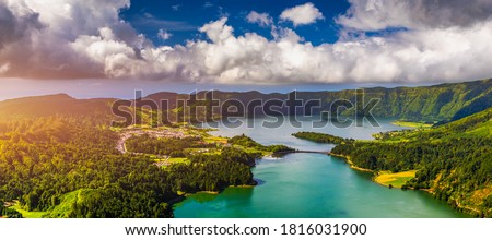 "Beautiful view of Seven Cities Lake ""Lagoa das Sete Cidades"" from Vista do Rei viewpoint in São Miguel Island, Azores, Portugal. Lagoon of the Seven Cities, Sao Miguel island, Azores, Portugal. Royalty-Free Stock Photo #1816031900"