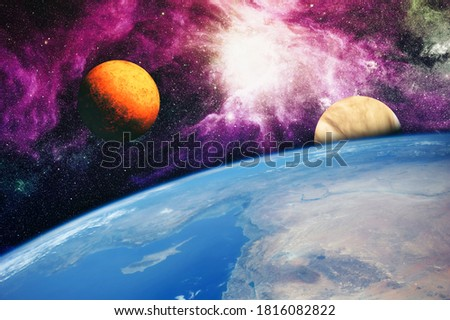 Deep space background with stardust and shining star. Milky way cosmic background. Star dust and pixie dust glitter space backdrop. Elements furnished by NASA