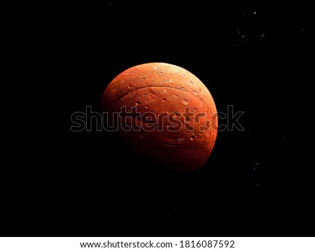 Bright red planet with a solid surface and craters on a black background with stars #1816087592
