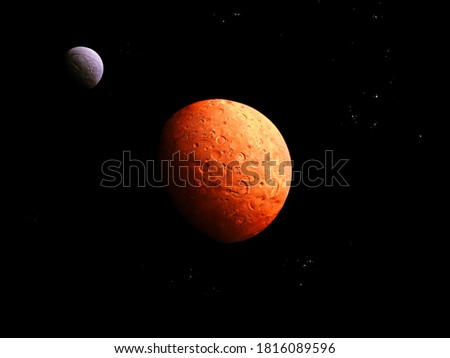 Red planet with a solid surface and big satellite on a black background with stars #1816089596