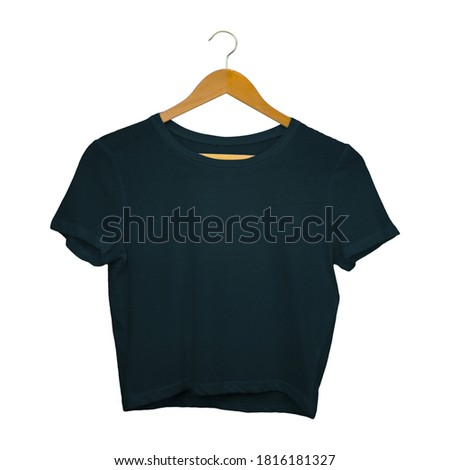 This Front View Sweet Crop Top Mockup In Royal Black Color With Hanger, are intended for you to insert your own artwork to create an image that showcases your final product.