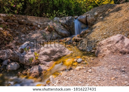 Little waterfall in Goynuk Canyon, Famous tourist place in Turkey. Long exposure picture, august 2020