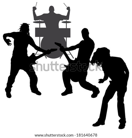 Vector musicians silhouette on a white background.  #181640678